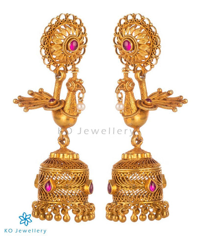 Peacock motif handcrafted gold plated silver jhumka