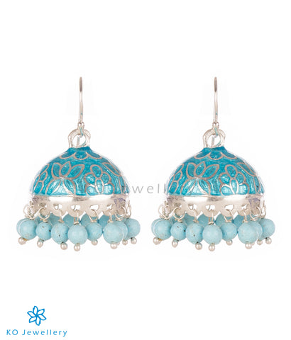 The Padmini Silver Enamel Jhumka- Light Blue