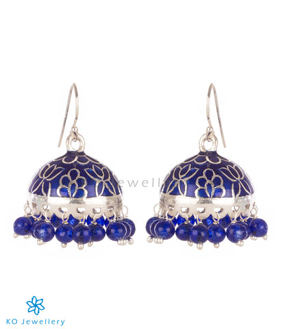 The Padmini Silver Enamel Jhumka-Dark blue