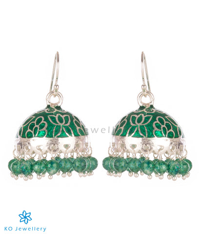 The Padmini Silver Enamel Jhumka-Green