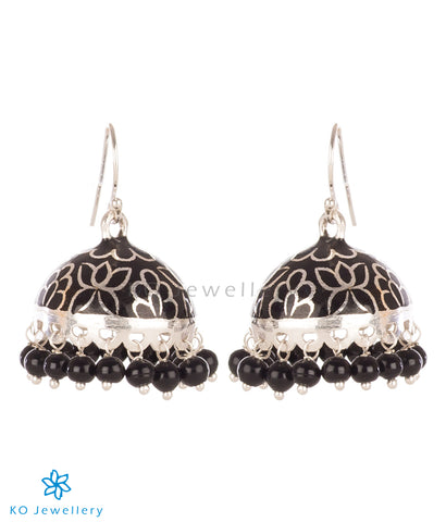 The Padmini Silver Enamel Jhumka-Black