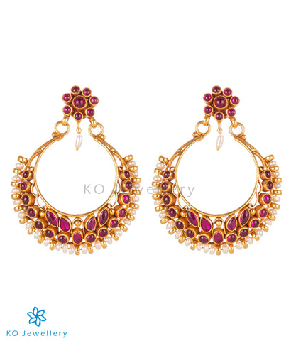 The Rasika Silver Chand Bali Earrings (Red)