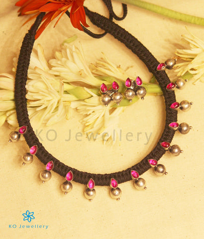 The Pahal Silver Choker Necklace (Red/Oxidised)