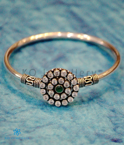 The Prerna Openable Silver Gemstone Bracelet (Green)