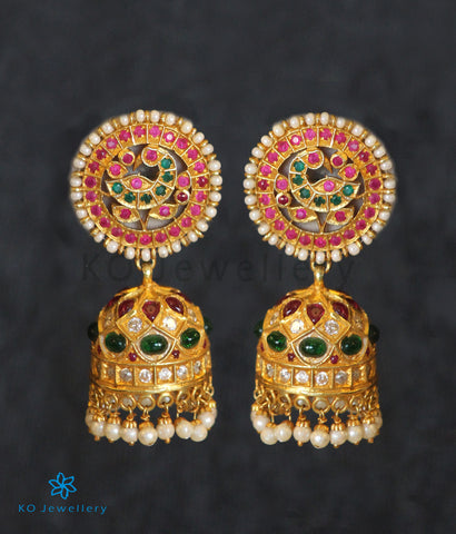 The Neelakanta Silver Peacock Jhumka (Red/Green)