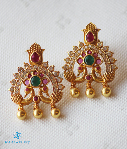 The Shubhi Silver Peacock Earrings (Red/Green)
