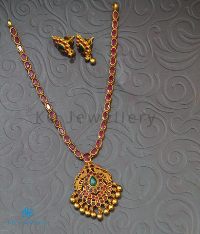 The Pratiksha Silver Peacock Kemp Necklace