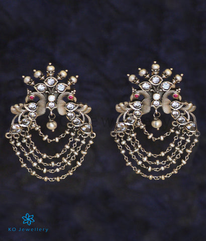 The Drishya Silver Peacock Earrings (Oxidised)