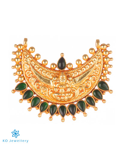gold plated long necklace with Lakshmi pendant