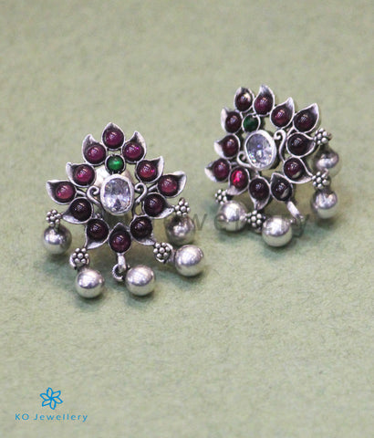 The Vidisha Silver Kempu Ear-Studs (Oxidised)