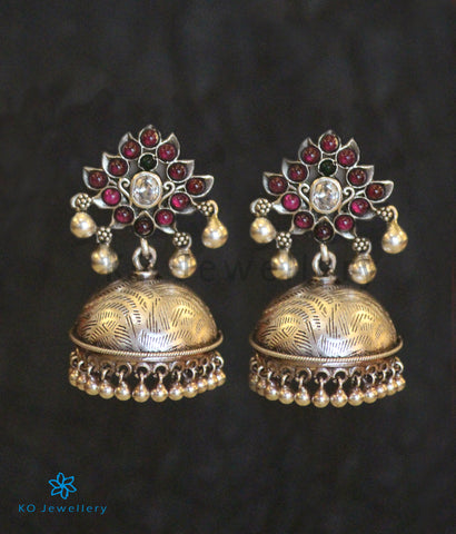The Vidisha Silver Kempu Jhumka (Oxidised)