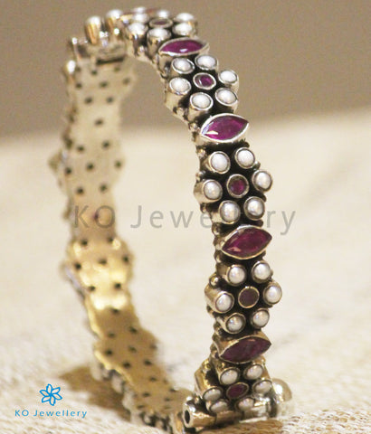 The Yuvan Silver Gemstone Bracelet(Red/Pearl)