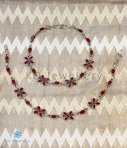 The Kadambari Silver Gemstone Anklets (Red)