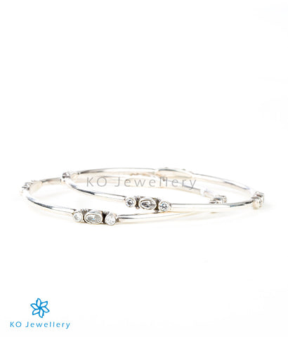 Lightweight, elegant silver bangles with real cubic zircon online