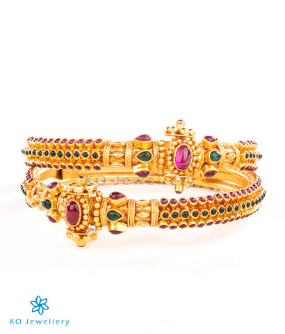 Delicately handcrafted gold-dipped temple jewellery bracelet