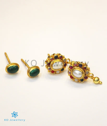 The Dvaya Silver Reversible Earrings(Navratna)