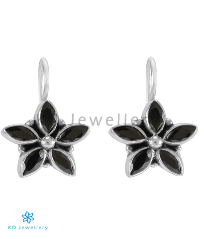 The Amita Silver Gemstone Earrings (Black)