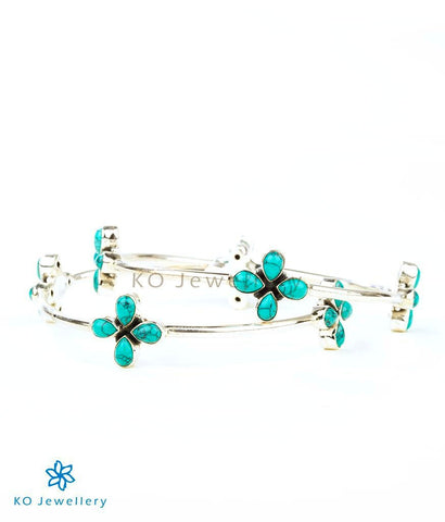 The Anaita Silver Gemstone Bangle(Turquoise)