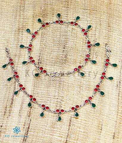 The Anahita Silver Gemstone Anklets (Red/Green)