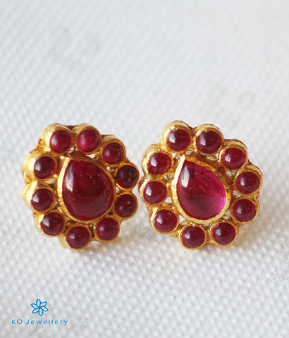 The Vanya Silver Kempu Ear-Studs (Red)