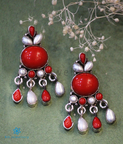 The Kiara Silver Gemstone Earrings (Coral/Pearl)