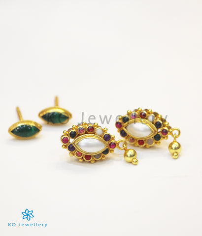 The Dviguna Silver Reversible Earrings(Navratna)