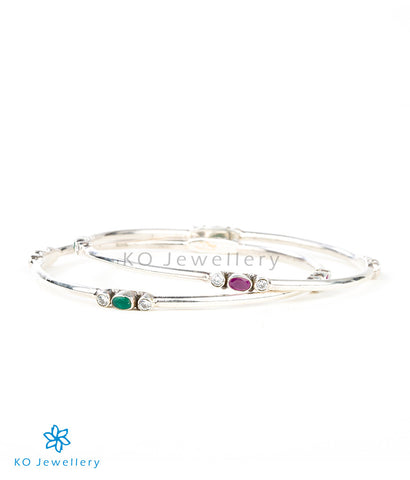 Beautiful silver bangles with genuine semi-precious stones