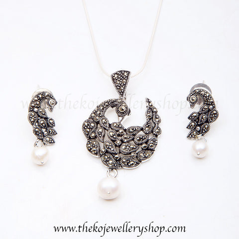 Sterling silver peacock pendant set shop online