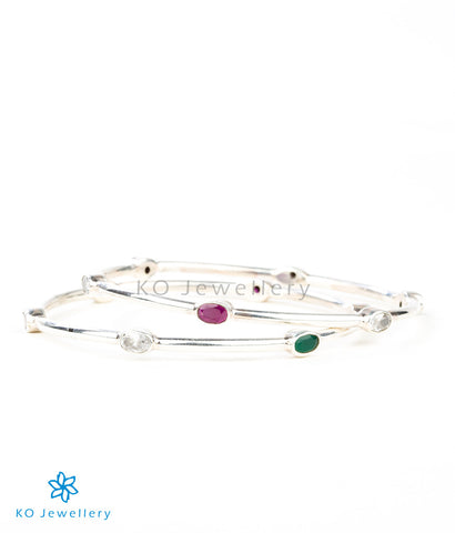 Red green silver gemstone bangles in contemporary design