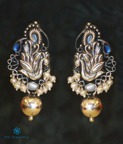 The Anulasya Silver Peacock Earrings(Oxidised)