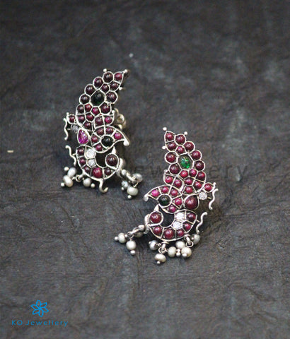 The Aakruti Silver Peacock Ear-Studs