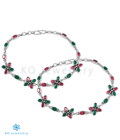 The Kadambari Silver Gemstone Anklets (Red/Green)
