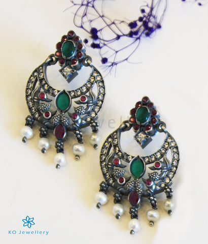The Chitrani Silver Chand Bali Earrings (Oxidised)