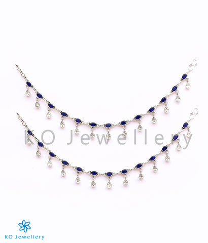 The Rudhira Silver Gemstone Anklets (Blue)