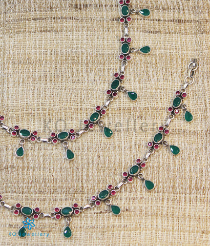 The Darsh Silver Gemstone Anklets (Red/Green)