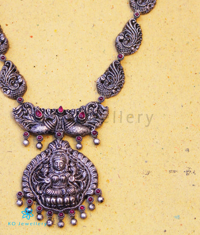 Copy of The Kairav Silver Peacock Nakkasi Necklace (Oxidised)