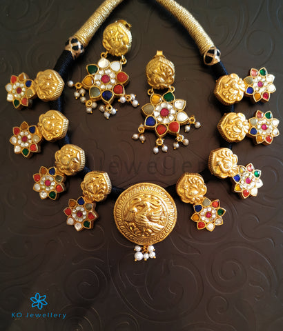The Nazm Silver Jadau Navratna Necklace.