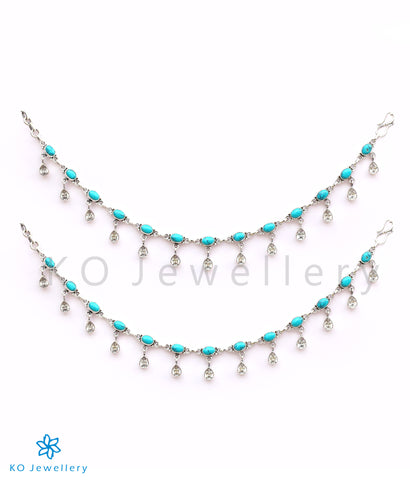 The Rudhira Silver Gemstone Anklets (Turquoise)