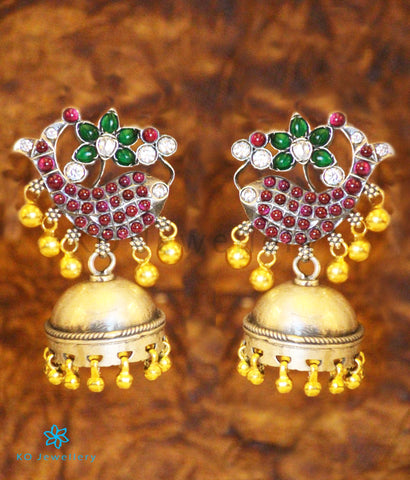 The Jalaja Silver Fish Jhumka (Two-tone)