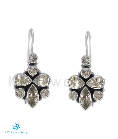 The Ruhi Silver Gemstone Earrings (White)