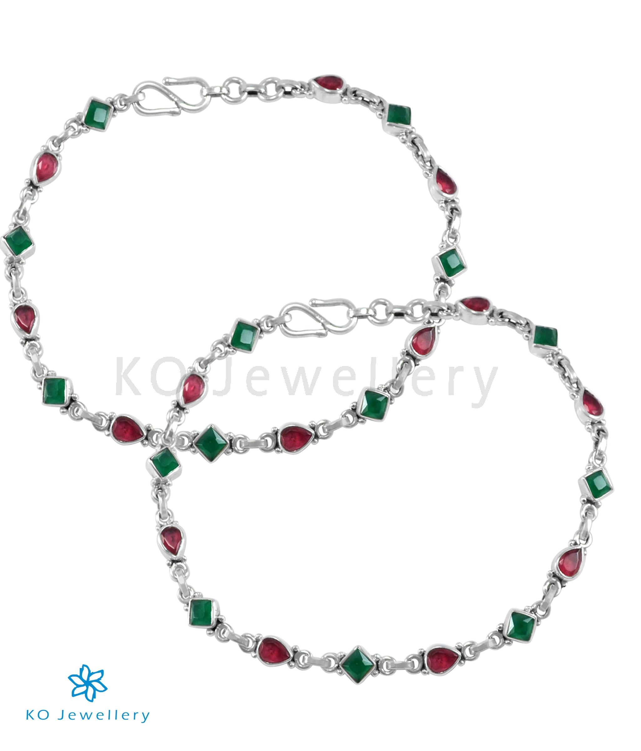 Red Green Beads Silver Stone 3 Line Anklet