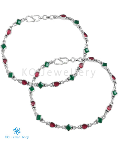 The Akshara Silver Gemstone Anklets (Red/Green)