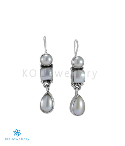 The Mahiti Silver Gemstone Earrings (Pearl)