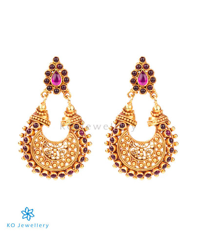 Stunning chand baali style temple jewellery earrings