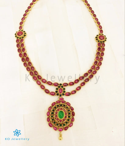 The Aaratrika Silver Kempu Necklace
