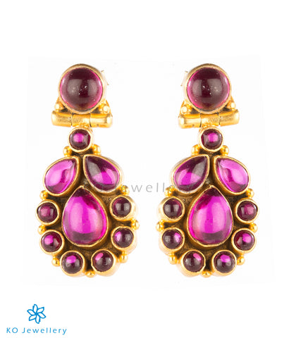 Ornate, gold-plated silver earrings for office wear