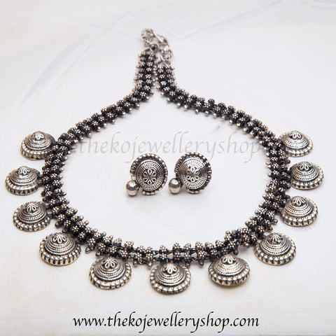 Buy online antique hand crafted silver necklace for women