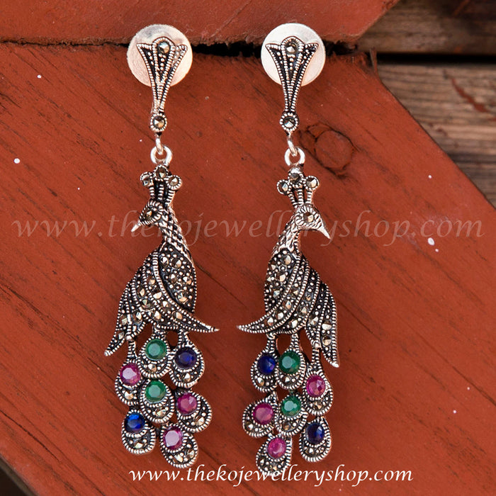 925 sterling silver peacock earrings for women