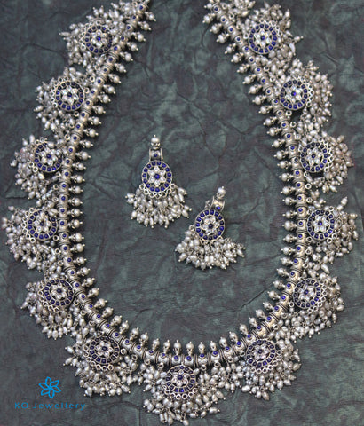 The Vrta Silver Guttapusalu Necklace (Blue)