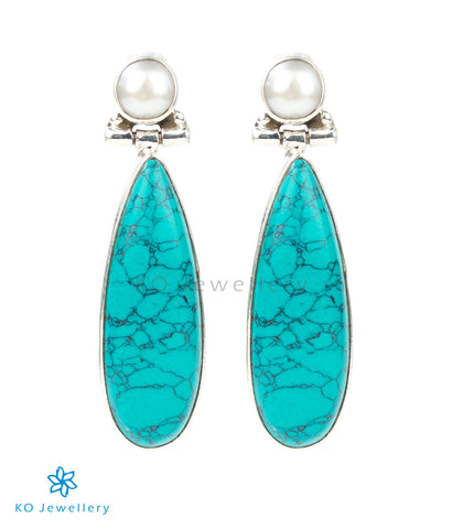 Pearl and turquoise dangling earrings online